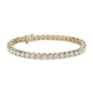 Ladies round brilliant cut diamond tennis bracelet
